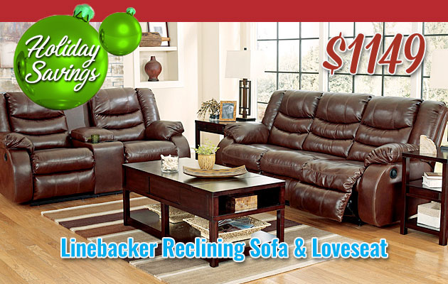 Linebacker DuraBlend Espresso Reclining Sofa & Loveseat