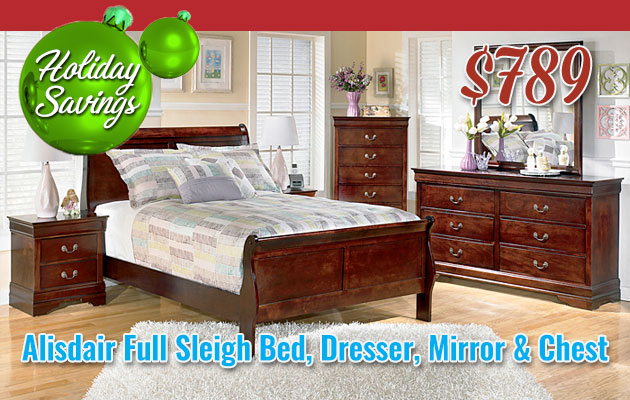 Alisdair Full Sleigh Bed, Dresser, Mirror & Chest