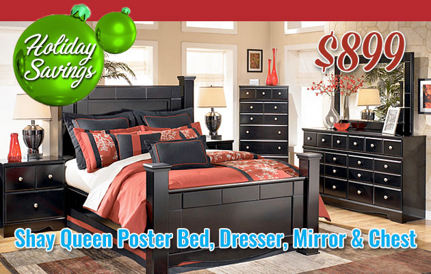 Shay Queen Poster Bed, Dresser, Mirror & Chest