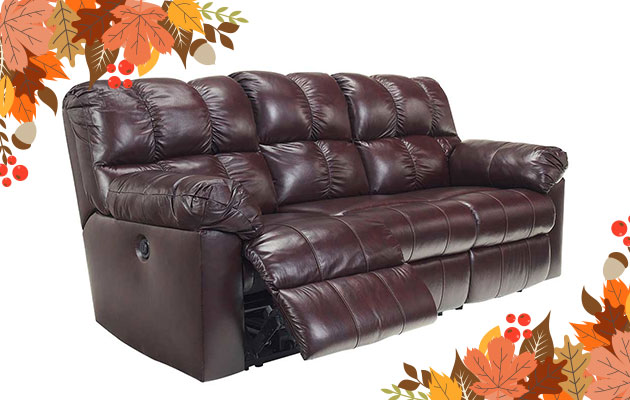Burgundy Bonded Leather Reclining Sofa