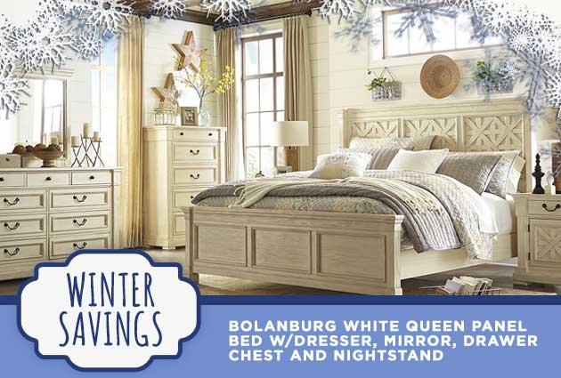 Bolanburg White Queen Panel Bed w/Dresser, Mirror, Drawer Chest and Nightstand