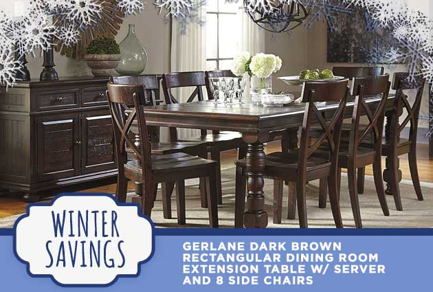 Gerlane Dark Brown Rectangular Dining Room Extension Table w/ Server and 8 Side Chairs
