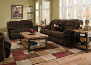50412 Double Motion Sofa w/ Table and Dbl Motion Gliding Loveseat Dynasty Chocolate
