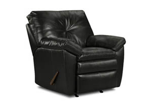 659 Sebring Leather Black Rocker Recliner