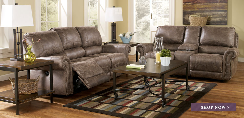 Oberson Gunsmoke Reclining Power Sofa & Loveseat