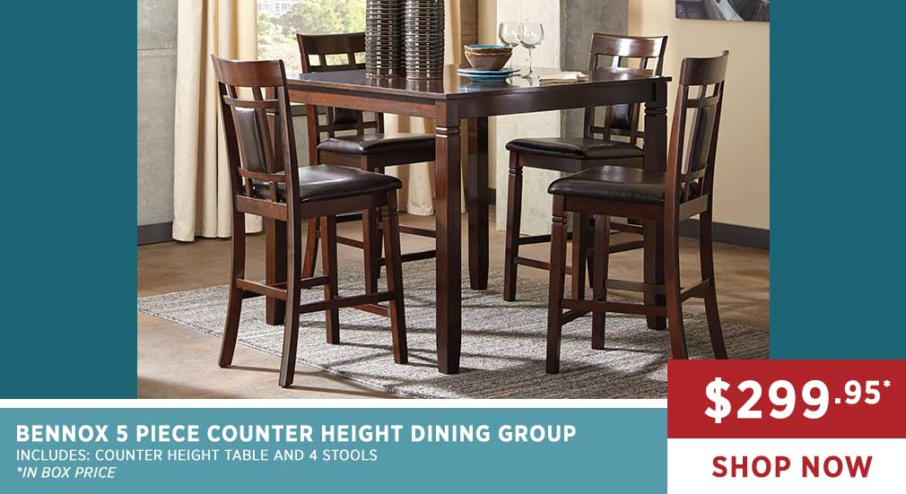 BENNOX 5 PIECE COUNTER HEIGHT DINING GROUP