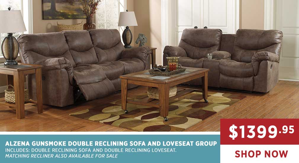 ALZENA GUNSMOKE DOUBLE RECLINING SOFA AND LOVESEAT GROUP