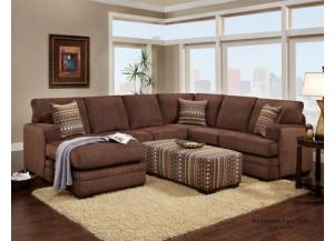 Brown Sectional and Ottoman