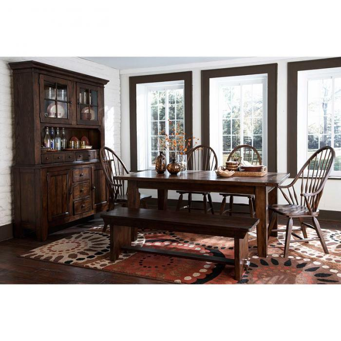 Attic Heirlooms Rustic Oak 6-piece Dining Set with Bench