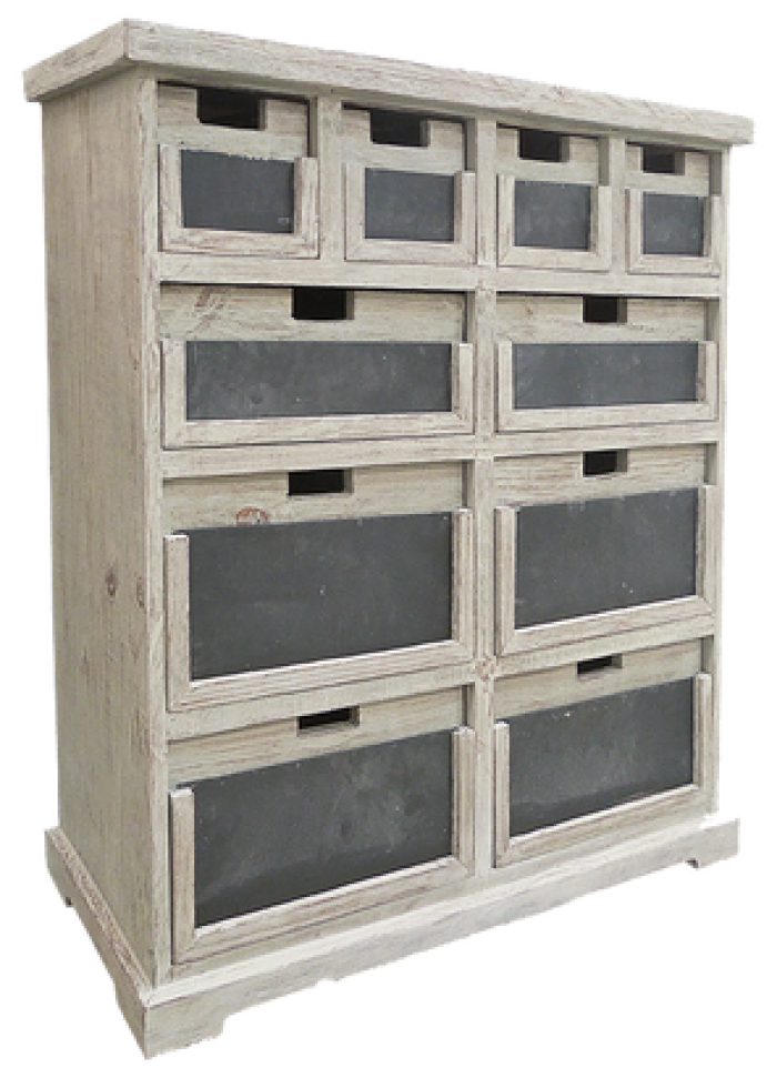 Urban Industrial Chalk 10 Drawer Dresser in Tuscano Grey,Texas Rustic