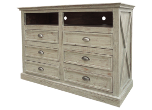 Urban New York Media Chest in Tuscano grey,Texas Rustic