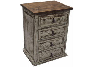 Antique White Five Drawer Nightstand,Texas Rustic