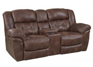 Frontier Espresso Rocking Reclining Loveseat with Console