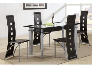 F2212 5 piece dining set package includes 4 chairs in either black or white