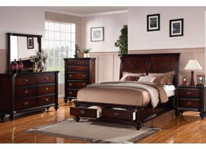 F9190 King Bed with underbed storage unit, dresser, mirror, nightstand and chest with optional TV chest