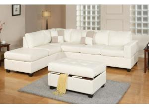 F7354 3 piece sectional sofa with reversable chaise and ottoman