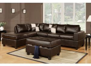 F7351 3 piece sofa with reversable chaise and ottoman in three colors