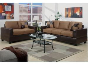 F7592 2 piece sofa set with accent pillows