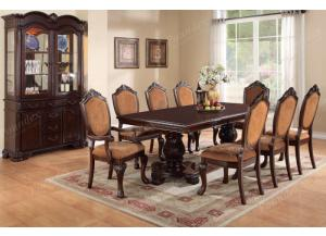 F2182 9 piece dining set package with extension leaf includes 8 chairs (6 side 2 arm) and optional server
