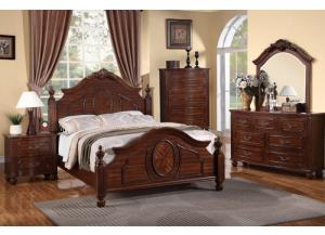 F9141 King Bed with dresser, mirror, nightstand and chest with optional TV chest