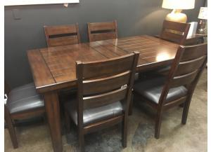 Clearance- table and 6 chairs with self-storing leaf- $999