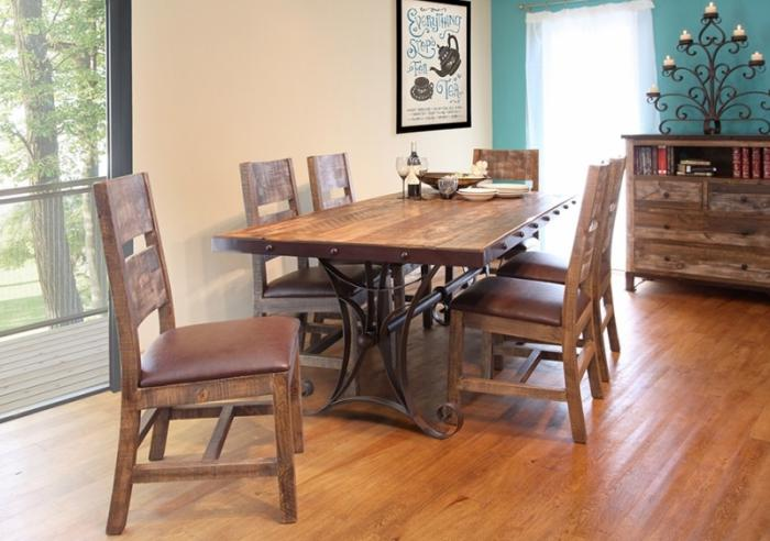 Antique Multicolor Table & 6 Chairs,International Furniture Direct