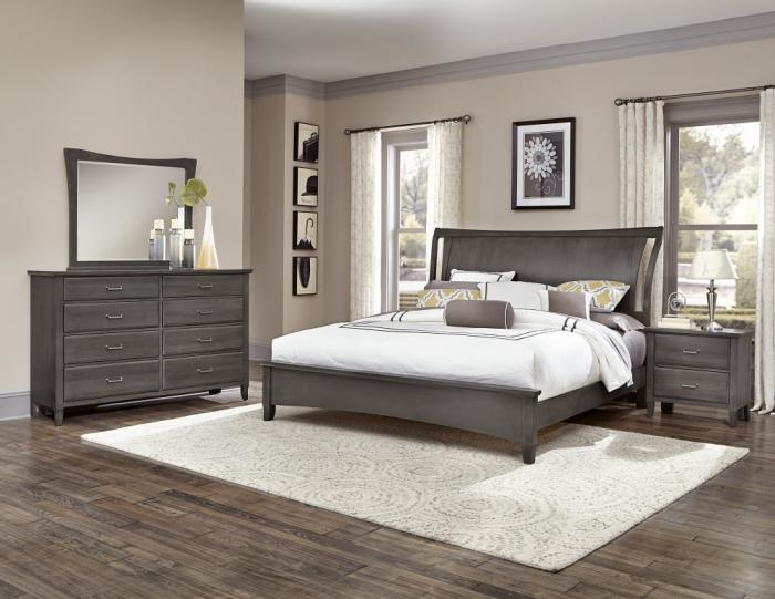 Commentary King Bed w/ Dresser, Mirror, Chest, Night Stand,Vaughan-Bassett