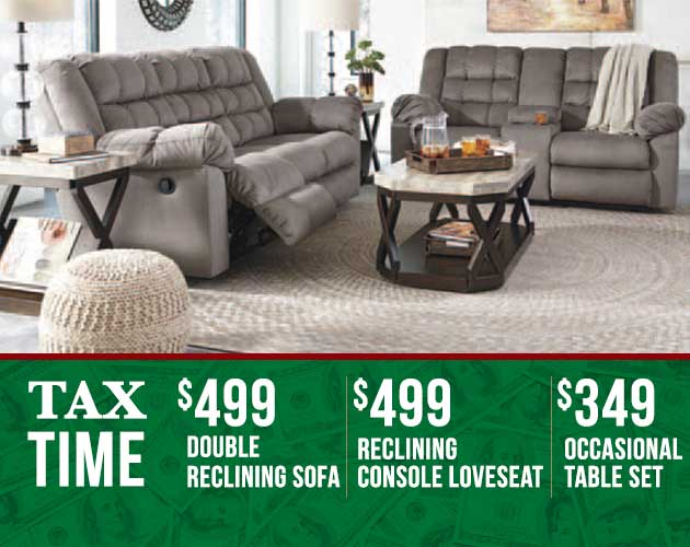 SALE RECLINING SOFA LOVESEAT AND OCCASIONAL TABLES