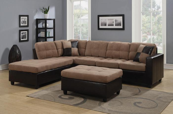Sectional with free ottoman/light brown,Best buy furniture