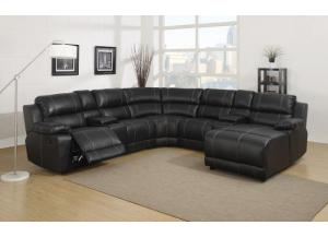 212 7pc Dark Brown Leather Sectional