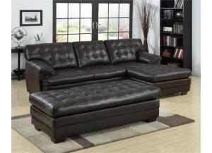 501 Brown Sectional & free ottoman