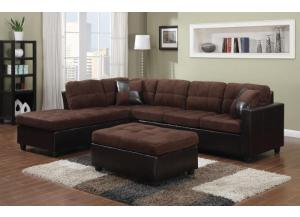 Sectional with free ottoman/dark brown