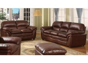 604 Contemporary Brown Sofa & Loveseat