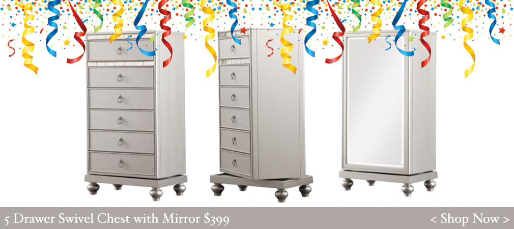 5 Drawer Swivel Chest with Mirror