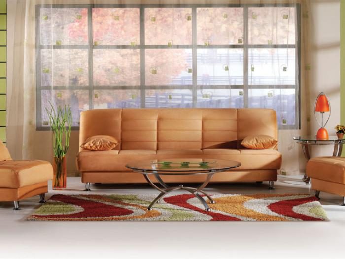 Vegas Rainbow Orange Futon With Storage,Brandywine Showcase