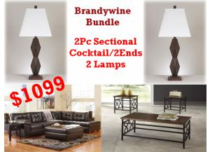 BUNDLE / Alliston Durablend 2 Pc Sectional/Cocktail 2 Ends/2 Lamps