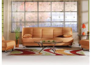 Vegas Rainbow Orange Futon With Storage