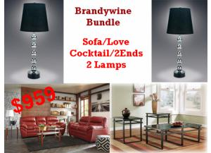 BUNDLE / Tassler Crimson Durablend  Sofa/ Love/Cocktail 2 Ends/2 Lamps