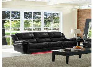 Reclining Sofa Power Flynn Black W/ Multi Color Lights