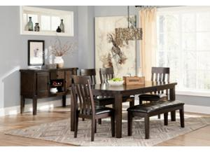 Haddigan 6 Piece dining (Table/4Chairs/1 Bench,Brandywine Showcase