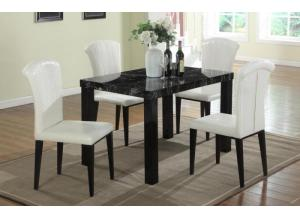 Black Faux Marble Table & 4 White Gator Chairs