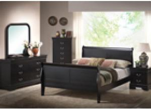Louis Phillip Black Queen Bed/D/M/C/NS