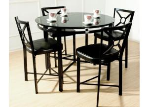 Park Avenue Black Metal Table and 4 Chairs