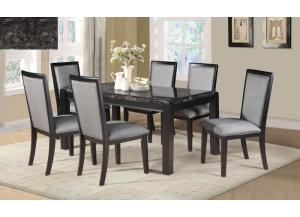 Sophisticated black Faux Marble table 6 Chaisrs