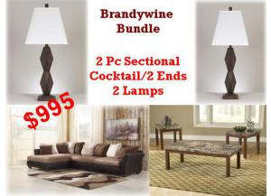 BUNDLE / Masoli Mocha 2 Pc Sectional/Cocktail 2 Ends/2 Lamps