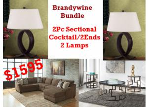 BUNDLE / Justyna Teak 2 Pc Sectional/Cocktail 2 Ends/2 Lamps