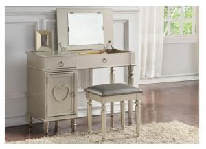 F4178 Silver Vanity With Storage and Stool