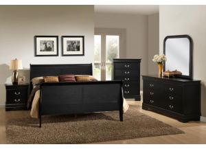 5934 Black Louis Phillipe Queen Size Bed with Dresser & Mirror, Chest & 1 Nightstand