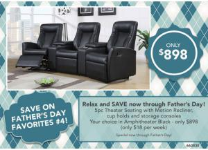 FATHER'S DAY FAVORITES #4 > 5pc Theater Seating with motion recliner, cup holds and storage consoles Your choice in Amphitheater Black