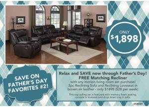 FATHER'S DAY FAVORITES #2 > FREE MATCHING RECLINER with any motion living room set purchase! 2pc Reclining Sofa and Reclining Loveseat in brown air-l
